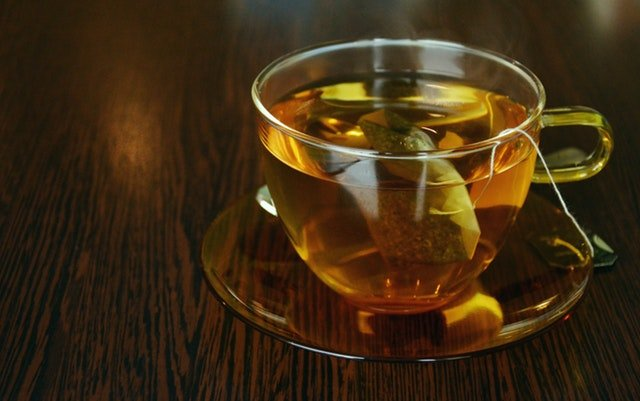 A hot cup of herbal chamomile tea