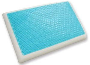 A blue gelled cooling pillow
