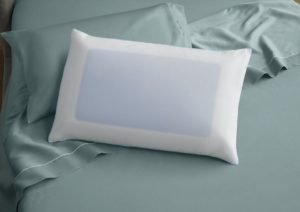 A white pillow with blue cooling gel fibers