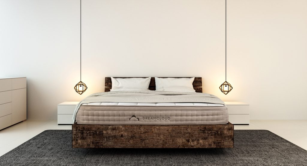 Bedroom interior for a modern home and hotel bedroom with DreamCloud Mattress.