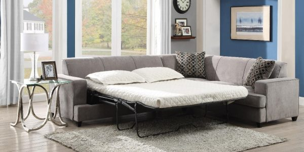 This sectional sofa with sleeper mattress