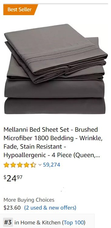 Shopping for Bedsheets on Amazon