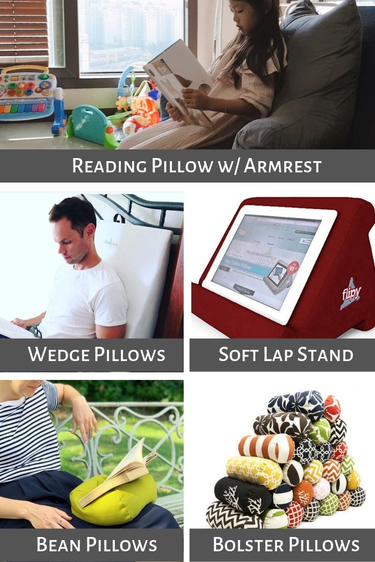 Reading pillows, wedge pillows, soft lap stand pillows, bean and bolster pillows
