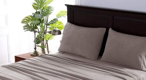 Soft gray-colored fleece sheets bedding