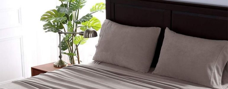 Soft gray-colored fleece sheets bedding