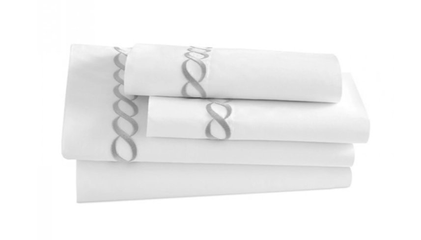 Pisano Eucalyptus Percale Embroidered Sheets