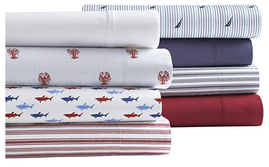 A set of folded patterned percale sheets