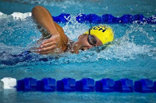 Female swimmer competing