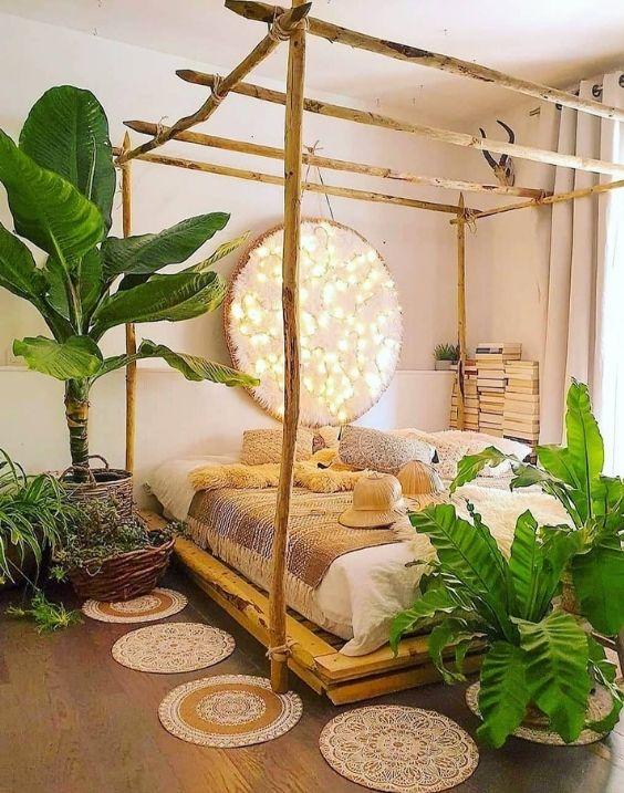 A beautiful rustic design african bedroom depicting a jungle fever.