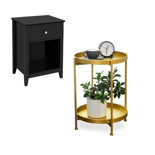 A mix of black and gold bedside tables