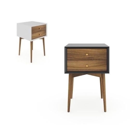 A mix of white and black bedside tables