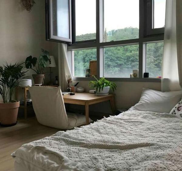 A cozy floor desk office in the bedroom