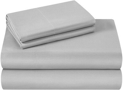 A neat pile of ironed and stacked microfiber sheets