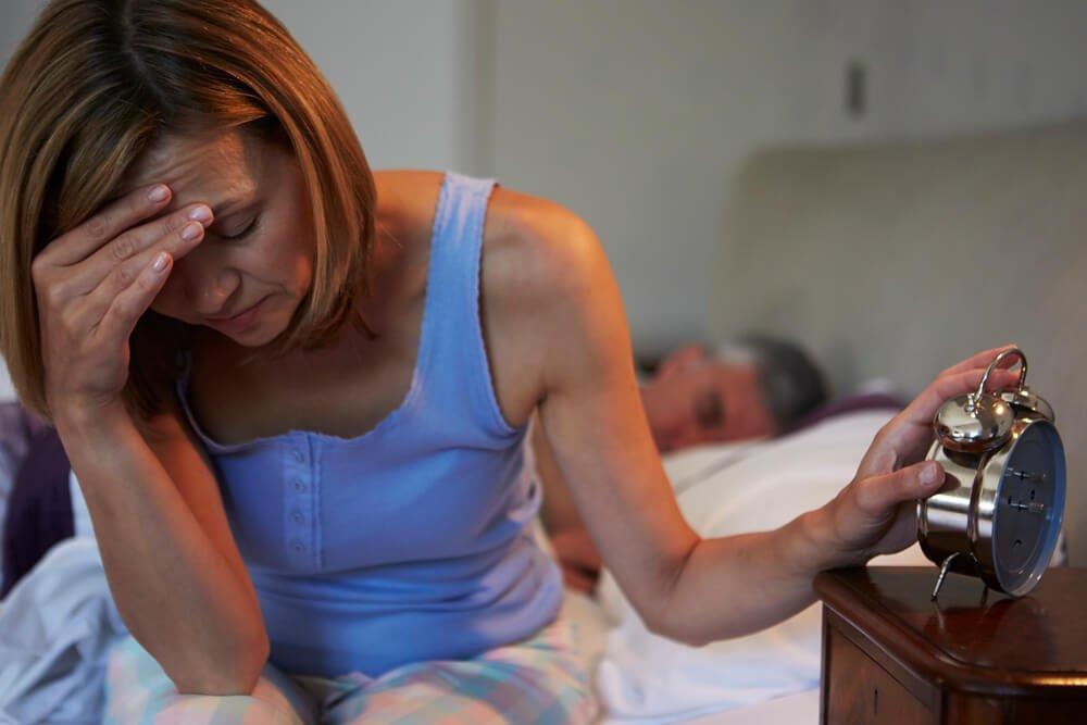 Woman sleep deprived