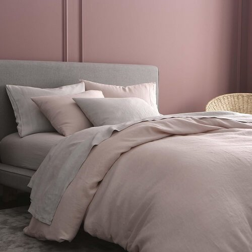 French linen bedding and duvet cover set in color blush