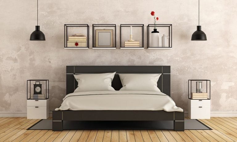 Modern Bedroom Stone Washed Walls Black Queen Bed and Cream Bedding