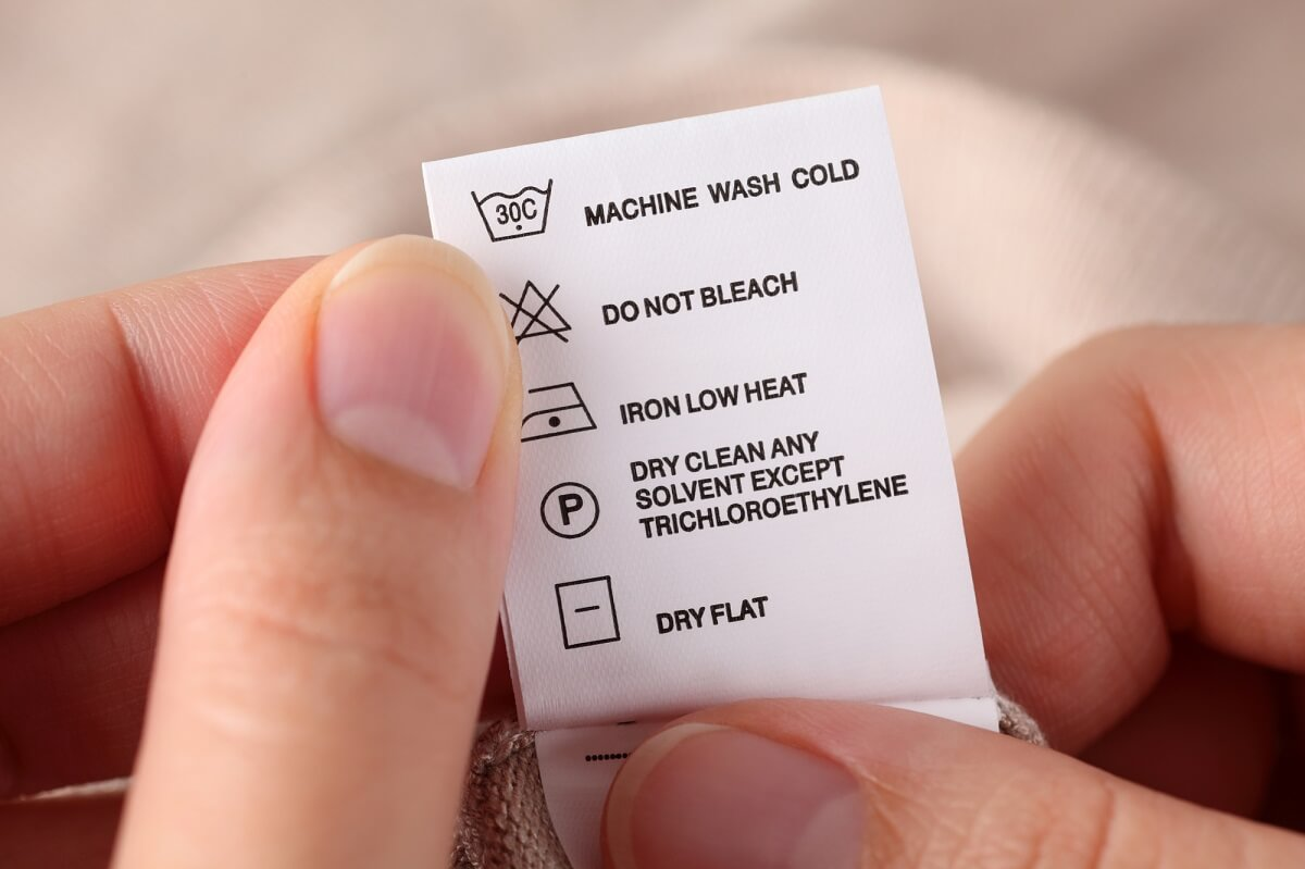 A label with cleaning instructions.