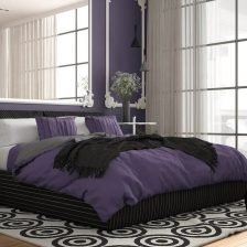 Modern violet colored bedroom in classic room with wall moldings, parquet, double bed with duvet and pillows, minimalist bedside tables, mirror and decors