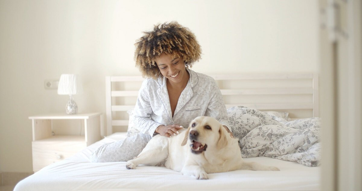 Young woman wearing warm pajamas, in a cozy bed petting her dog.